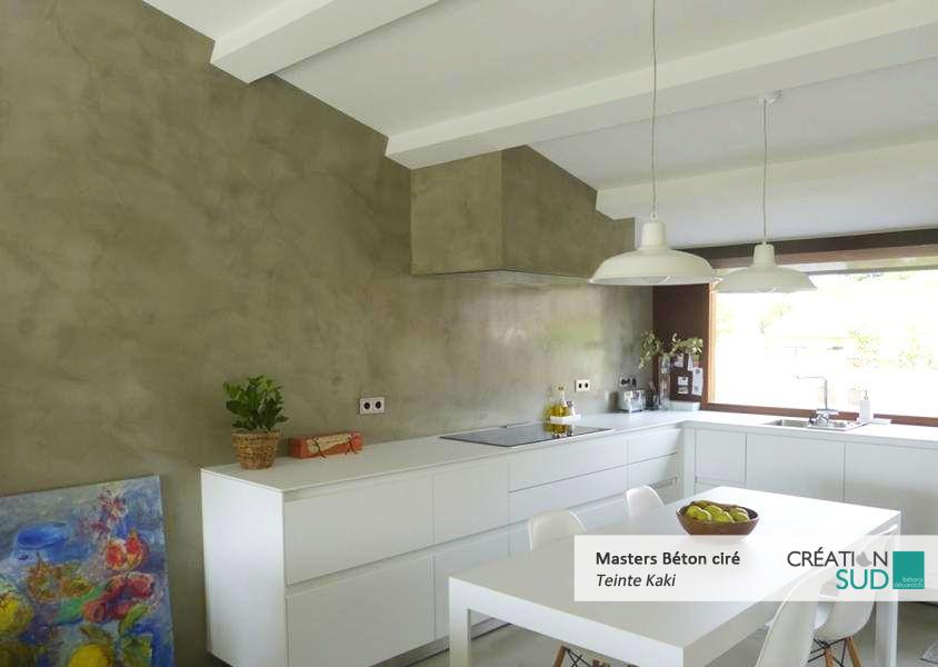Mur Cuisine Beton Cire Kaki Specialiste Des Betons Decoratifs